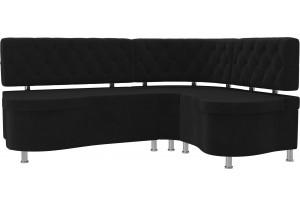 Кухонный угловой диван Вегас Черный (Велюр)