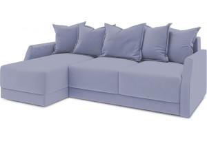 Диван угловой левый «Люксор Slim Т1» (Poseidon Blue Graphite (иск.замша) серо-фиолетовый)