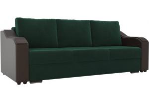 Прямой диван Монако зеленый/коричневый (Велюр/Экокожа)