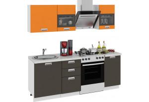 Кухонный гарнитур длиной - 210 см БЬЮТИ (Оранж)/(Грэй)
