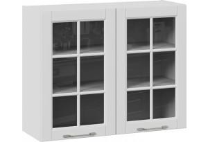 Шкаф навесной со стеклом (СКАЙ (Белоснежный софт))
