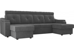 П-образный диван Джастин Серый (Велюр)