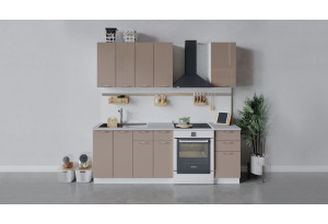 Кухонный гарнитур «Весна» длиной 160 см (Белый/Кофе с молоком)
