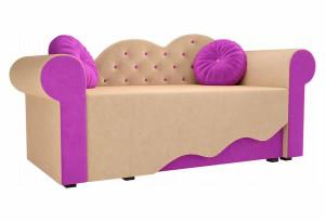 Детская кровать Тедди-2 бежевый/фиолетовый (Микровельвет)