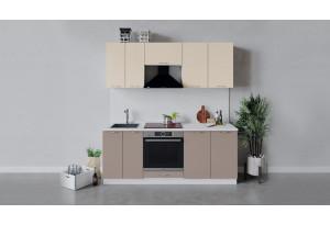 Кухонный гарнитур «Весна» длиной 200 см со шкафом НБ (Белый/Ваниль глянец/Кофе с молоком)