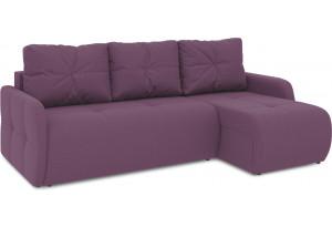 Диван угловой правый «Томас Slim Т1» (Kolibri Violet (велюр) фиолетовый)