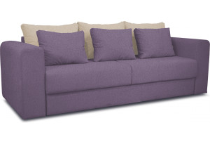 Диван «Вилсон» Neo 09 (рогожка) фиолетовый, подушка Neo 02 (рогожка) бежевый