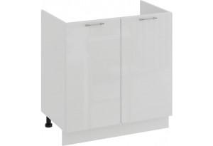 Шкаф напольный с двумя дверями (под накладную мойку) «Весна» (Белый/Белый глянец)
