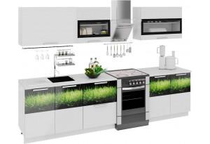 Кухонный гарнитур длиной - 300 см Фэнтези (Белый универс)/(Грасс)