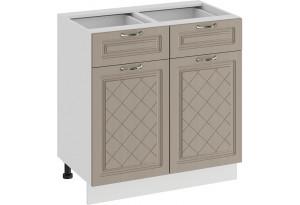 Шкаф напольный с двумя ящиками и двумя дверями «Бьянка» (Белый/Дуб кофе)