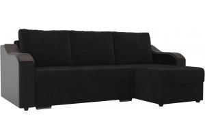 Угловой диван Монако черный/черный (Велюр/Экокожа)