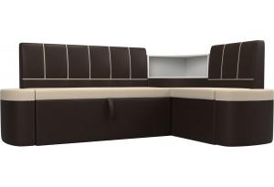 Кухонный угловой диван Тефида бежевый/коричневый (Экокожа)