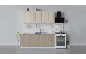 Кухонный гарнитур «Бьянка» длиной 200 см (Белый/Дуб ваниль/Дуб кофе)