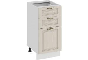 Шкаф напольный с тремя ящиками «Лина» (Белый/Крем)