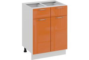 Шкаф напольный с двумя ящиками и двумя дверями «Весна» (Белый/Оранж глянец)