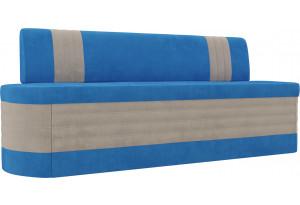 Кухонный прямой диван Токио голубой/бежевый (Велюр)
