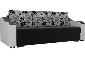 Прямой диван Монако Черный/Белый (Микровельвет/Экокожа/флок на рогожке)