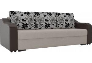 Прямой диван Монако бежевый/коричневый (Рогожка/экокожа/флок на рогожке)