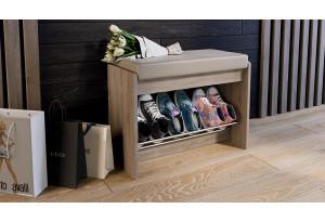 Тумба для обуви «Тайм» тип 1 Дуб Сонома трюфель/Кожзам бежевый