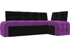 Кухонный угловой диван Люксор Фиолетовый/Черный (Микровельвет)