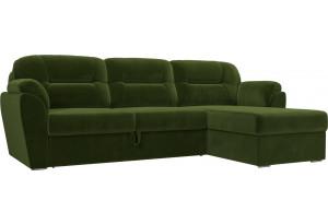 Угловой диван Бостон Зеленый (Микровельвет)
