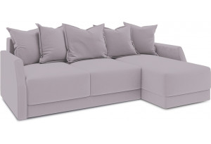 Диван угловой правый «Люксор Slim Т1» (Poseidon Pale Lavender (иск.замша) бледно-лавандовый)