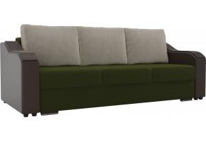 Прямой диван Монако зеленый/коричневый (Микровельвет/Экокожа)