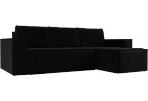 Угловой диван Куба Черный (Микровельвет)