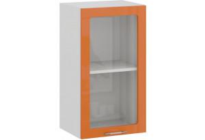 Шкаф навесной c одной дверью со стеклом «Весна» (Белый/Оранж глянец)