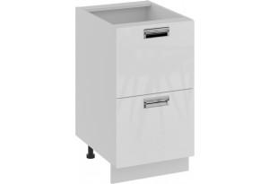 Шкаф напольный с 2-мя ящиками (БЬЮТИ (Белая))