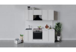Кухонный гарнитур «Ольга» длиной 200 см со шкафом НБ (Белый/Белый)