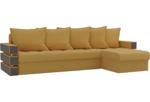 Угловой диван Венеция Желтый (Микровельвет)