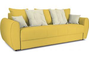 Диван «Бернард» Maserati 11 (велюр) желтый, подушка Miami 01 (рогожка), песочный