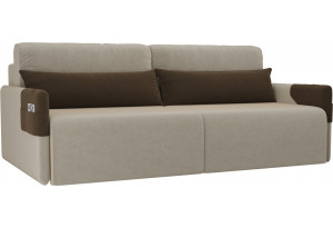 Прямой диван Армада бежевый/коричневый (Микровельвет)