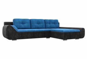 Угловой диван Анталина голубой/черный (Велюр)