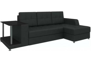 Угловой диван Атланта Черный (Экокожа)