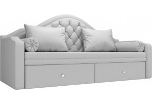 Прямой диван софа Сойер Белый (Экокожа)