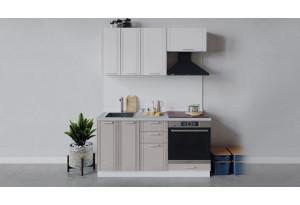 Кухонный гарнитур «Ольга» длиной 160 см со шкафом НБ (Белый/Белый/Кремовый)