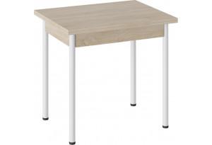 Стол «Родос» Тип 2 с опорой d40 Белый муар/Дуб Сонома