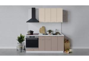 Кухонный гарнитур «Весна» длиной 180 см со шкафом НБ (Белый/Ваниль глянец/Кофе с молоком)