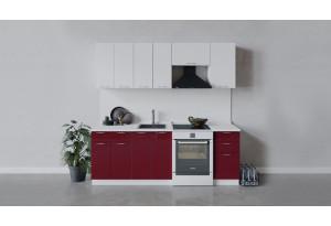Кухонный гарнитур «Весна» длиной 220 см (Белый/Белый глянец/Бордо глянец)