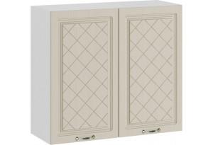 Шкаф навесной c двумя дверями «Бьянка» (Белый/Дуб ваниль)