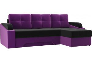 Угловой диван Панда черный/фиолетовый (Микровельвет)