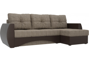 Угловой диван Сатурн коричневый/коричневый (Корфу/экокожа)
