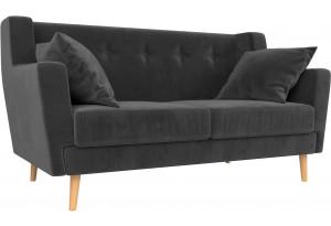 Прямой диван Брайтон 2 Серый (Велюр)