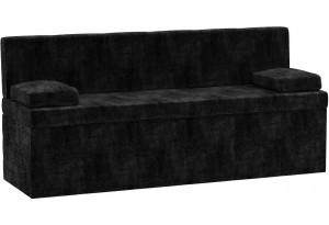 Кухонный прямой диван Лео Черный (Микровельвет)