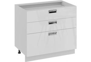 Шкаф напольный с 3-мя ящиками (БЬЮТИ (Белая))