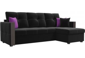 Угловой диван Валенсия Черный (Микровельвет)