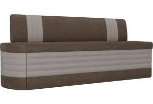 Кухонный прямой диван Токио Коричневый/Бежевый (Рогожка)