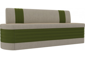 Кухонный прямой диван Токио бежевый/зеленый (Микровельвет)